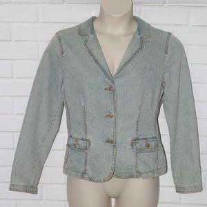 CAbi Sz 10 Denim Jean Jacket #250 Blazer